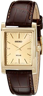 Men's Brown Leather Strap Solar Dress Watch
