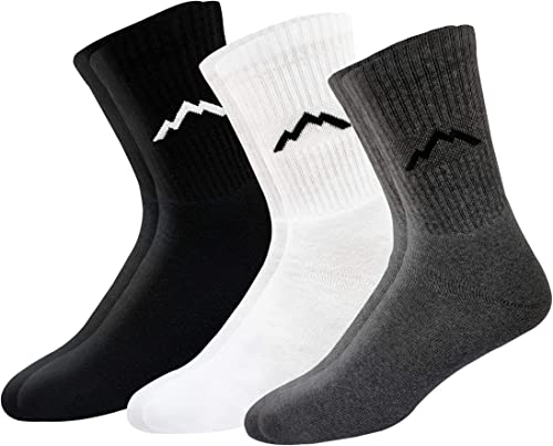 RANGER Sport Men's Heavy Duty Cotton Crew Athletic Socks, Pack of 3 (Multi-coloured)