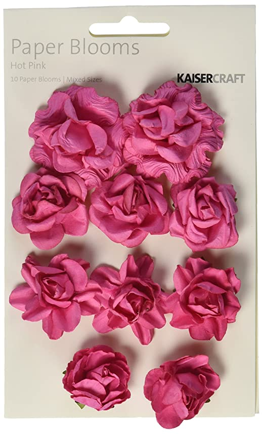 Kaisercraft F663 Paper Flowers Bloom, 1-Inch to 1.5-Inch, Hot Pink, 10-Pack