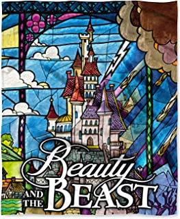 Northwest Disney Beauty and The Beast Stained Glass Enchanted Castle Silk Touch Throw Blanket 50