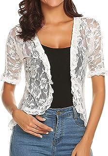 Oyolan Womens Shrugs Summer Floral Lace Half Sleeve Open Front Bolero Cardigan