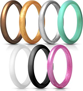 ThunderFit Women's Thin and Stackable Silicone Rings Wedding Bands - 7 Rings / 1 Ring 2.5mm Width - 2mm Thick