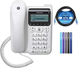 $39 » Motorola CT610 Corded Telephone with Answering Machine & Call Blocking Bundle with 10-FT 1 Gbps Cat5e Cable, and Blucoil 5...