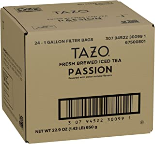 TAZO Passion Fresh Brewed Iced Tea Unsweetened, Herbal, Caffeine Free, Non GMO, 1 gallon, Pack of 24
