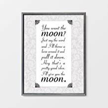 Arvier You Want The Moon George Lassos Moon Its a Wonderful Life Holiday Decor Jimmy Stewart Quote Christmas Decor Holiday Art Anniversary Framed Wall Art
