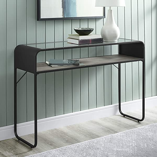 WE Furniture AZF46CURETGW Entryway Table 46 Grey Wash