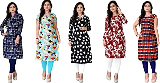 Kesari King Women's Crepe A-Line Semi Stitched Kurti Material (Set of 5) (1023,24,25,38,52.Z_Multicolored_Free Size)
