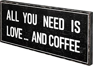 MyGift All You Need is Love and Coffee Vintage Style Wall Mounted Wooden Sign