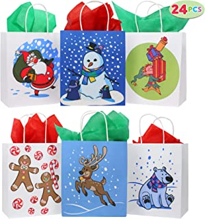 24 Christmas Kraft Paper Gift Bags with Handles Blue and White with Assorted Christmas Prints for Holiday Christmas Goody Bags, Xmas Gift Bags, School Classrooms and Party Favors
