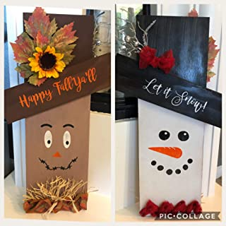Reversible, Double Sided Scare Crow and Snowman front Porch Decor, Fall Sign, Winter Sign, Cute Holiday Decor Snowman, Scarecrow