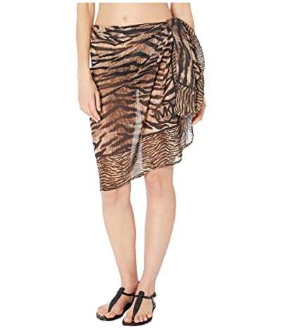 MICHAEL Michael Kors Tiger Mix Print Pareo Cover-Up (Brown Multi) Women
