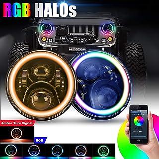 "SUPAREE 7"" round LED Headlights RGB Halo Angel Eyes with Amber Turn Signal Light 7 inch Bluetooth Remote Control for 1997-2017 Jeep Wrangler JK LJ TJ CJ Sahara Sport Rubicon Hummer H1 H2"