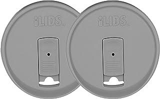 iLIDS Mason Jar Drink Lid, Wide Mouth, Gray, Pack of 2