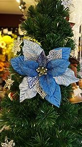 Sweet Home Deco 18'' Silk Poinsettias Artificial Flower Bush Christmas Decorations (5 Stems/ 5 Flower Heads) (Blue)