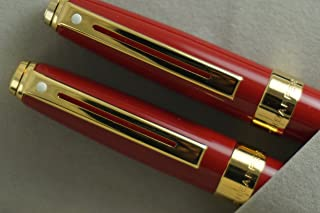 Cross Sheaffer Executive Companion Red Lacquer Signature Prelude Collection with 22KT Gold appointments , Solid and stamped 14KT Gold Medium nib Fountain pen and Ballpoint pen with 22KT Gold Combo