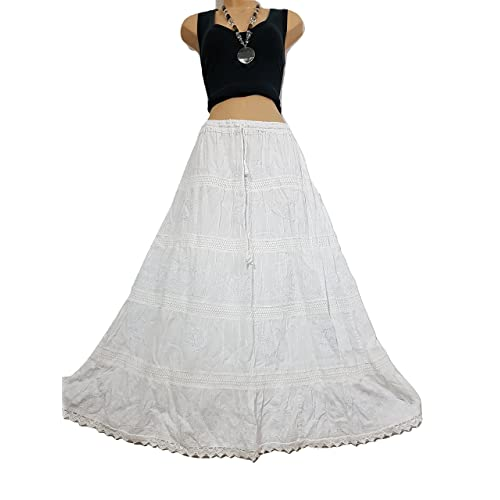Doorwaytofashion Cotton and Lace Embroidered Peasant Gypsy Boho Casual Festival Summer Skirt UK One Size 10 12 14 16 18 20
