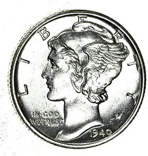 1940 Gem Brilliant Uncirculated Silver Mercury Dime Choice BU