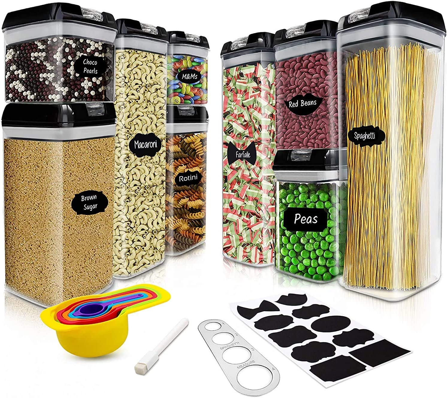 Airtight Food Storage Container Set - 9 PC Set/All Same Size - Labels & Marker - Kitchen & Pantry Organization Dry Food Containers - BPA-Free - Clear Plastic Canisters with Improved Lids (Black)