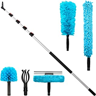 Jumbl Cleaning Kit | 6 to 24 Foot High Reach Telescoping Dusting Pole with 5 Attachments Including Cobweb Duster, Microfiber Duster, Ceiling Fan Duster, Light Bulb Changer & Swivel Squeegee