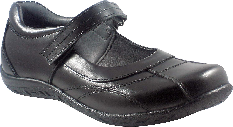 BOBBLEKIDS Big Girls Black Soft Leather Shoes, Carmen 3.5M