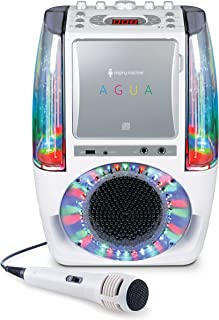 Singing Machine SML605W Agua Dancing Water Fountain Karaoke System with LED Disco Lights & Microphone, White
