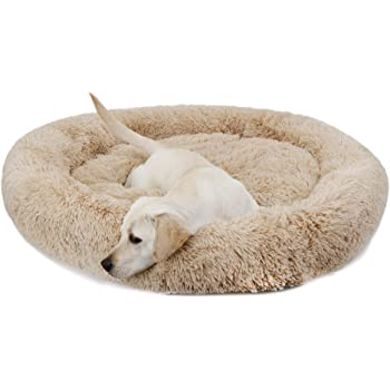 Nova Microdermabrasion Donut Dog Bed Calming Ultra Soft Shag Faux Fur Dog Bed Comfortable Donut Cuddler for Dogs and Cats,Self-Warming and Washable