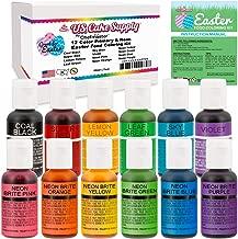12 Color Cake Food Coloring Liqua-Gel Easter Egg Decorating Baking Set - U.S. Cake Supply .75 fl. Oz. (20ml) Bottles Primary & Neon Colors