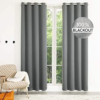 Bedsure 100% Blackout Curtains Linen Textured - Black Out Curtains 84 inch Long 2 Panels - Thermal Curtains and Drapes for...