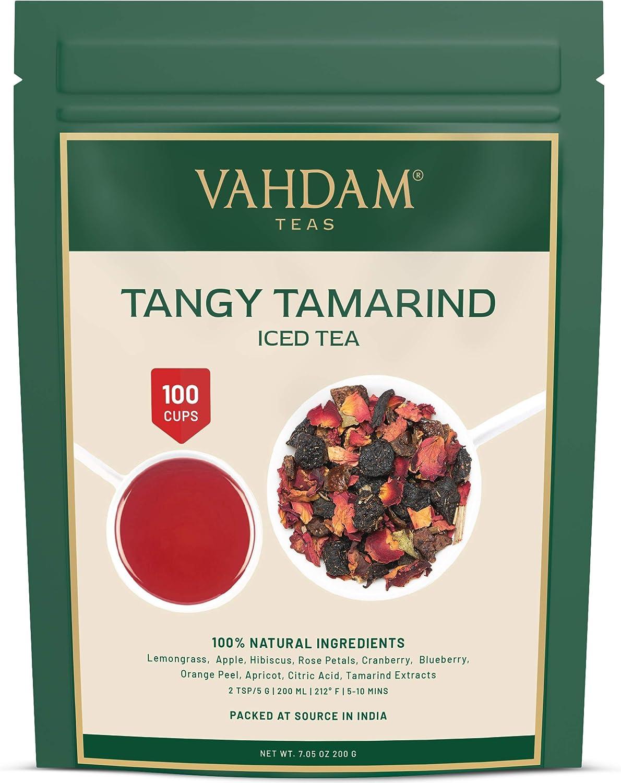 VAHDAM, Té Helado de Tamarindo Tangy | 40 porciones, 8 cuartos | Ingredientes 100% naturales | Sabor delicioso de tamarindo y frutas exóticas tropicales | Té helado de hierbas | 200gr | De la india