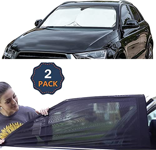 """discount EcoNour Gift Bundle   Windshield Sun Shade (Classic 59""""x29"""") + Car Window Screen for Camping (Medium 36""""x17"""")(2 discount Pack)   Complete Sun Protection   Covers Privacy Blackout   Easy to sale Use Car Accessories online sale"""