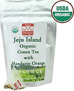 Teas Unique Korean Jeju Island Organic Green Tea with Mandarin Orange, 25 Tea Bags (50g)