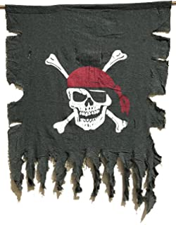 LANGXUN Large Size 3ft x 2.5ft Retro and Weathered Linen Pirate Flag for Halloween Decorations, Pirate Party, Kids Room Décor