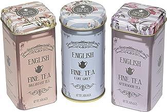 New English Teas - English Tea Selection - English Fine Tea Vintage Tins - 3 x 12 Teabags