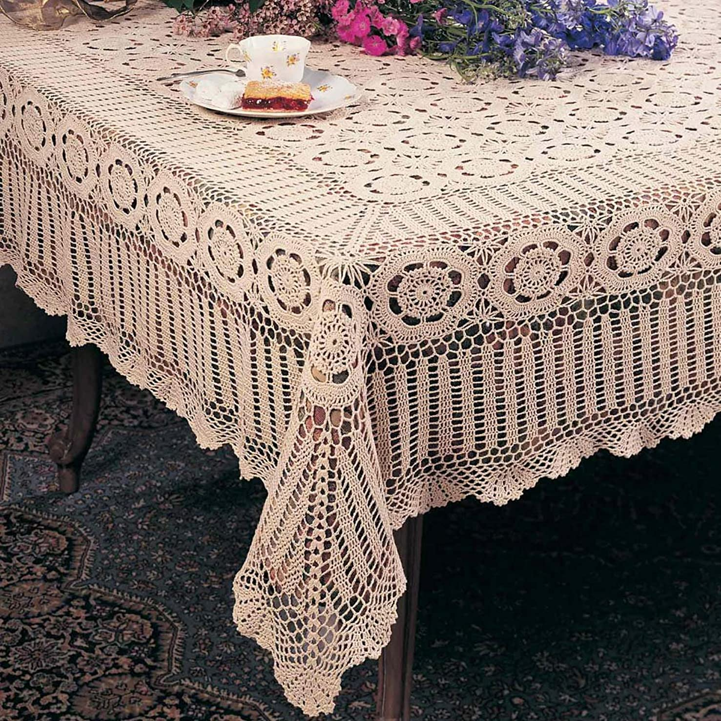 TCC Handmade Crochet Lace Tablecloth. 100% Cotton Crochet. Ecru, 72 Inch X108 Inch Oblong. One piece