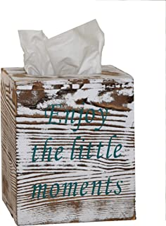 Rustic Wood Tissue Box Cover Included Slide Out Bottom Panel Kleenex Box Holder with 2 mottos Printed Perfect for Farmhouse bathrooms Decor and More