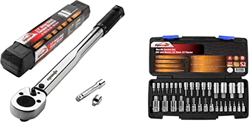 new arrival EPAuto 1/2-inch Drive Click Torque Wrench + EPAuto 32 PCs Hex 2021 sale Bit Socket Set, SAE and Metric, S2 & Cr-V Steel online
