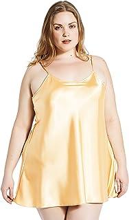 Jovannie Short Length Satin Chemise Plus Size Teddy Sleepwear Nightgown  Nightie Full Slip Dress Babydoll Nightwear c7a2a21fa