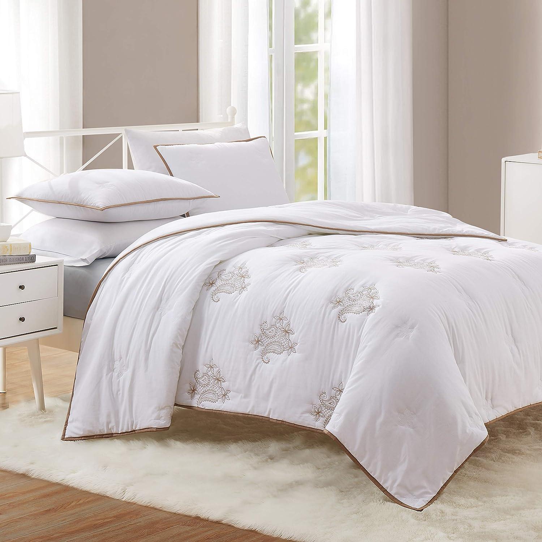 HeyDreamy Metallic Embroidery 3-Piece Cotton Voile Comforter Set, Quilt Set, Down Alternative Fill Bedding Set (gold, Full Queen)