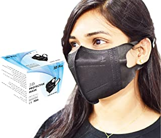 3D Disposable Face Mask Full Black for Adults, Elastic Cloth Ear Straps Breathable Face Mask 5 Individual Package Each pac...