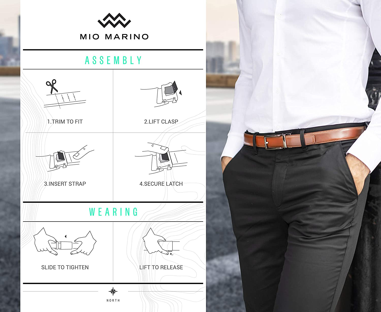 Gunblack Silver Open Buckle with Black Leather Marino Men/'s Genuine Leather Ratchet Dress Belt with Automatic Buckle Enclosed in an Elegant Gift Box Custom XL: Up to 54 Waist