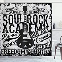 Ambesonne Retro Shower Curtain, Soul Rock Academy Theme Music School Electric Guitar Freedom Poster Like Image, Cloth Fabric Bathroom Decor Set with Hooks, 84 Long Extra, Beige and Black