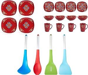 Better Homes & Gardens Medallion 16-Piece Square Dinnerware Set, Red bundle with Tasty 4-Piece Silicone Kitchen Utensil Set