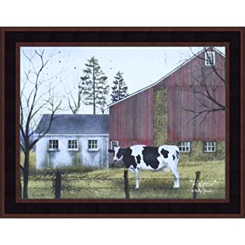 Country Old Farmhouse with Holstein Cows Wall Picture 8x10 Art Print