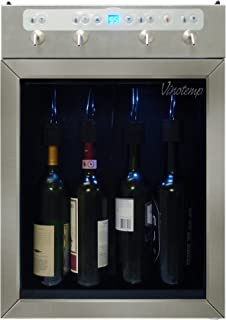 Vinotemp VT-WINEDISP4SS 4-Bottle Stainless Wine Dispenser with Custom Portion Control, Blue LED and Tempurature Display for Home and Commercial use