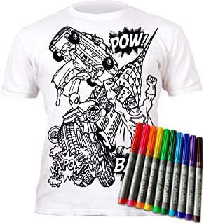 Splat Planet Colour-in Superhero Super Hero T-Shirt with 10 Non-Toxic Washable Magic Pens - Colour-in and Wash Out T-Shirt