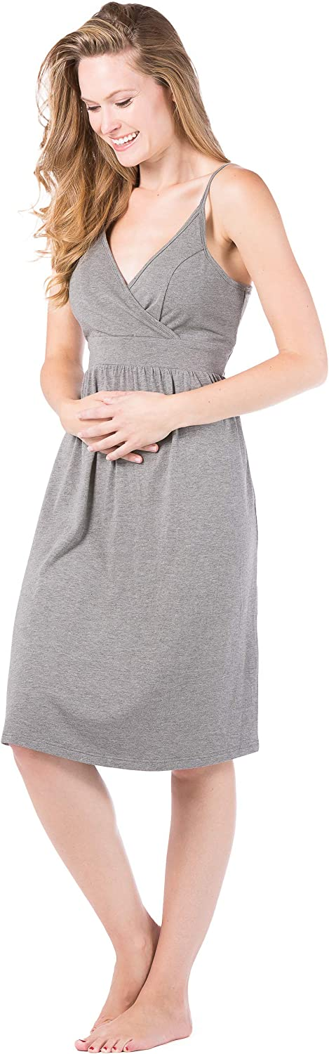 Fishers Finery Women's Ecofabric Wireless Sleeveless Maternity Nursing Nightgown