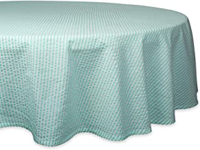 "DII Cotton Seersucker Striped Tablecloth for Weddings, Picnics, Summer Parties and Everyday Use, 70"" Round, Aqua Blue"