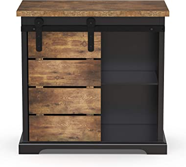 NSdirect Sideboard Buffet Storage Cabinet, Modern Farmhouse Sliding Barn Door Storage Credenza Console with Slat and Shelf En