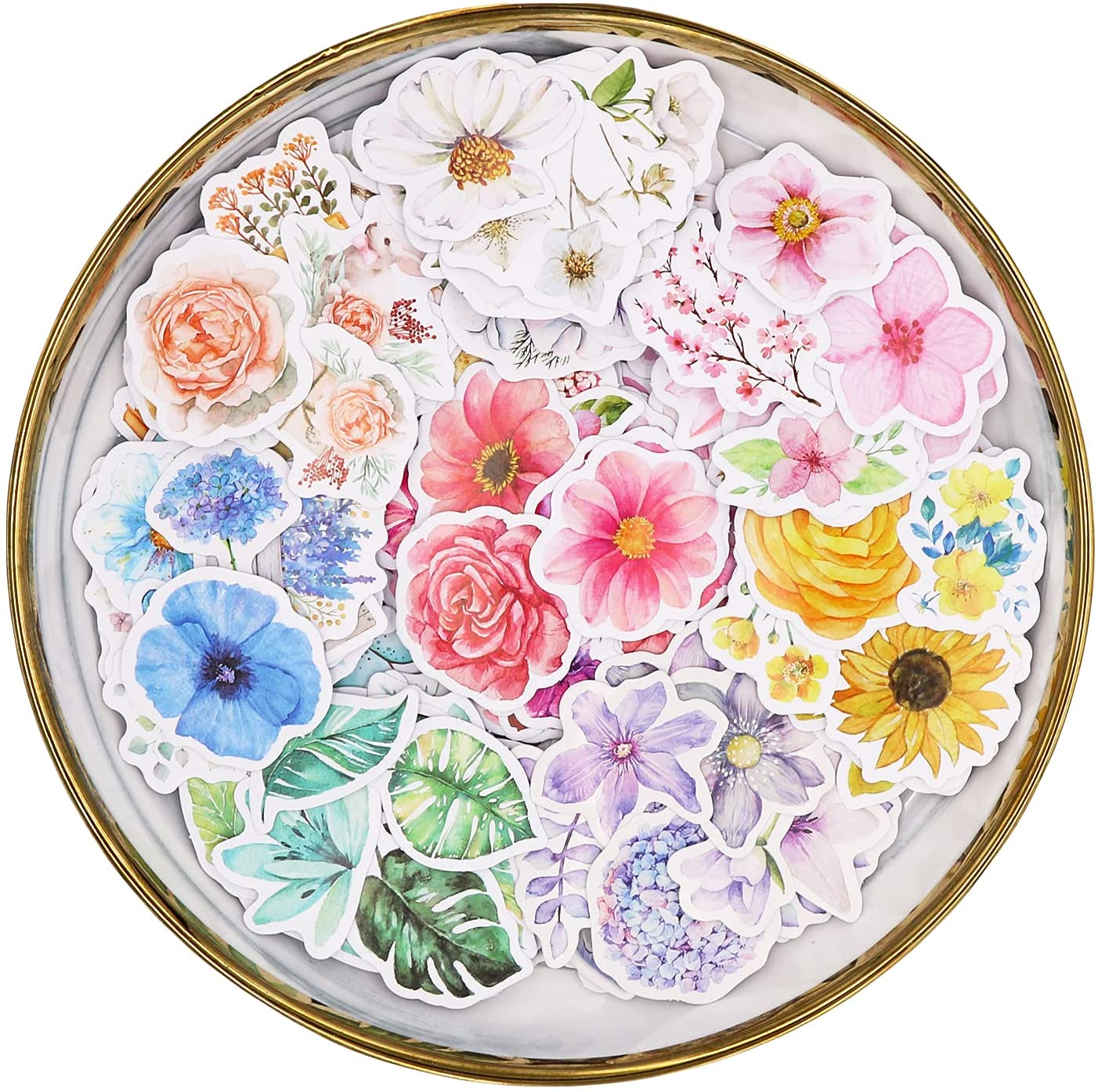 Knaid Flower Stickers Set (360 Pieces) - Decorative Colorful Assorted Floral Sticker for Scrapbooking, Kid DIY Arts Crafts, Album, Bullet Journals, Junk Journal, Planners, Laptops and Phone