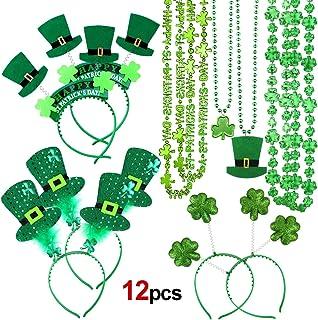 HOWAF San Patricio disfrazde Accesorios (12 Pcs) diseño de San Patricio Diadema Sombrero Trébol Verde Bopper de Cabeza y trébol Collar con para Mujer Hombre Día de San Patricio Decoracion